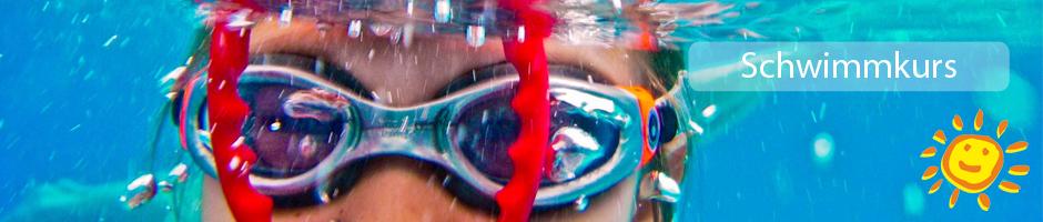 Schwimmkurs mit Text und Sonne